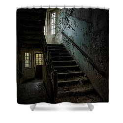 Abandoned Building - Haunting Images - Stairwell In Building 138 Shower Curtain by Gary Heller