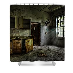 Shower Curtain featuring the photograph Abandoned Building - Old Asylum - Open Cabinet Doors by Gary Heller