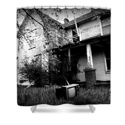 Abandoned Farm House Black And White Shower Curtain by Catherine Sherman