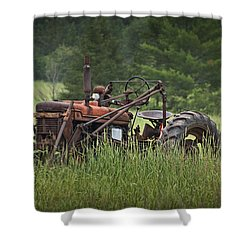 Abandoned Farm Tractor In The Grass Shower Curtain by Randall Nyhof