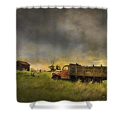 Abandoned Farm Truck Shower Curtain by Theresa Tahara
