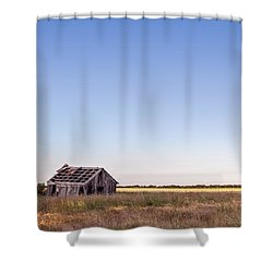 Abandoned Farmhouse In A Field Shower Curtain