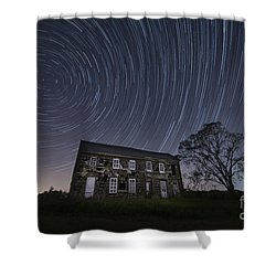 Abandoned History Star Trails Shower Curtain by Michael Ver Sprill
