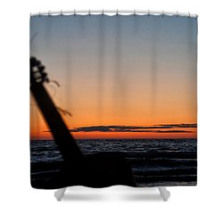 Acoustic Guitar On The Beach Shower Curtain by Mike Santis