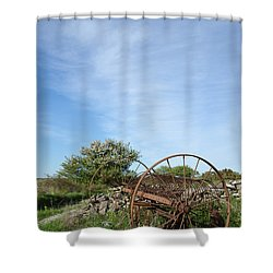 Shower Curtain featuring the photograph Abandoned Old Horse Rake  by Kennerth and Birgitta Kullman