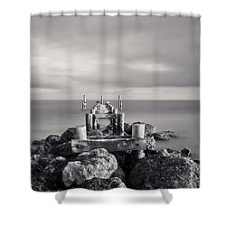 Abandoned Pier Shower Curtain by Adam Romanowicz