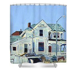 Shower Curtain featuring the painting Abandoned Victorian In Oakland  by Asha Carolyn Young