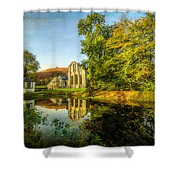 Abbey Lake Autumn Shower Curtain by Adrian Evans