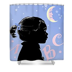 Shower Curtain featuring the painting Abc - The Moon And Me by Carol Jacobs