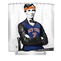 Abe Lincoln In A Carmelo Anthony New York Knicks Jersey Shower Curtain by Roly Orihuela