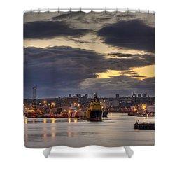 Aberdeen Harbour At Dusk Shower Curtain