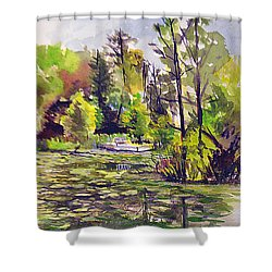 Shower Curtain featuring the painting Aboretum Light by Allison Ashton