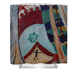 Aborigines Sail Shower Curtain by Avonelle Kelsey