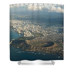 Shower Curtain featuring the photograph Above Hawaii by Georgia Mizuleva