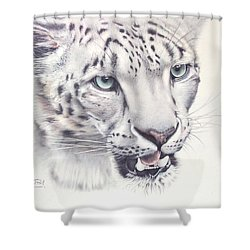 Above The Clouds - Snow Leopard Shower Curtain