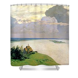 Above The Eternal Peace Shower Curtain by Isaak Ilyich Levitan