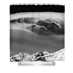 Above The Peaks Shower Curtain by Dave Bowman