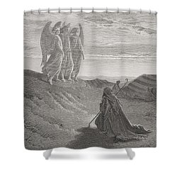Abraham And The Three Angels Shower Curtain by Gustave Dore