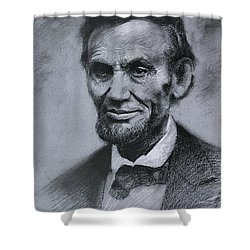 Shower Curtain featuring the drawing Abraham Lincoln by Viola El