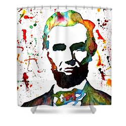 Shower Curtain featuring the painting Abraham Lincoln Original Watercolor Painting by Georgeta Blanaru