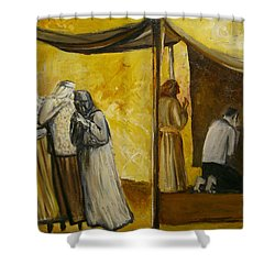 Abraham Praying Shower Curtain by Richard Mcbee
