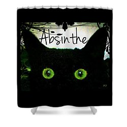 Shower Curtain featuring the digital art Absinthe Black Cat by Absinthe Art By Michelle LeAnn Scott