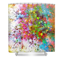 abstract art COLOR SPLASH on Square Shower Curtain