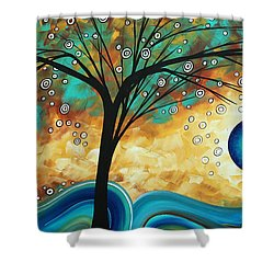 Abstract Art Contemporary Painting Summer Blooms By Madart Shower Curtain by Megan Duncanson