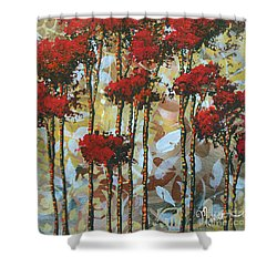 Abstract Art Decorative Landscape Original Painting Whispering Trees I By Madart Studios Shower Curtain by Megan Duncanson