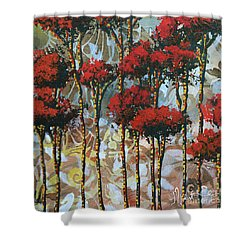 Abstract Art Decorative Landscape Original Painting Whispering Trees II By Madart Studios Shower Curtain by Megan Duncanson