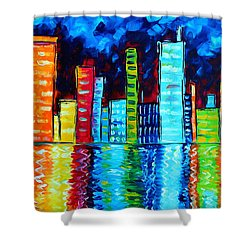 Abstract Art Landscape City Cityscape Textured Painting City Nights II By Madart Shower Curtain