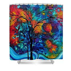 Abstract Art Landscape Tree Bold Colorful Painting A Secret Place By Madart Shower Curtain by Megan Duncanson