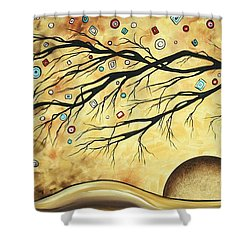 Abstract Art Metallic Gold Original Landscape Painting Colorful Diamond Jubilee By Madart Shower Curtain by Megan Duncanson