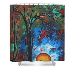 Abstract Art Original Colorful Bird Painting Spring Blossoms By Madart Shower Curtain by Megan Duncanson
