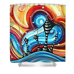 Abstract Art Original Colorful Funky House Painting Home On The Hill By Madart Shower Curtain by Megan Duncanson