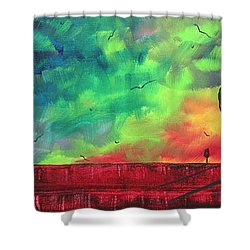 Abstract Art Original Colorful Landscape Painting Burning Skies By Madart  Shower Curtain by Megan Duncanson