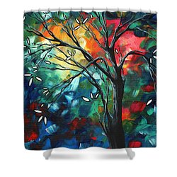Abstract Art Original Colorful Painting Spring Blossoms By Madart Shower Curtain by Megan Duncanson