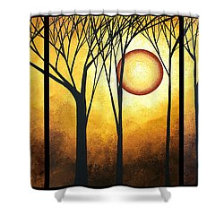 Abstract Art Original Landscape Golden Halo By Madart Shower Curtain by Megan Duncanson