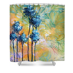 Abstract Art Original Landscape Painting Contemporary Design Blue Trees I By Madart Shower Curtain by Megan Duncanson