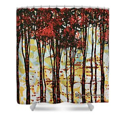 Abstract Art Original Landscape Painting Contemporary Design Forest Of Dreams I By Madart Shower Curtain by Megan Duncanson