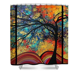 Abstract Art Original Landscape Painting Go Forth By Madart Shower Curtain by Megan Duncanson