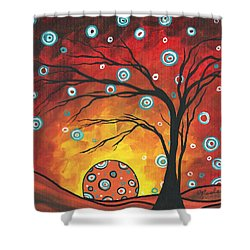Abstract Art Original Landscape Painting Setting Sun By Madart Shower Curtain by Megan Duncanson