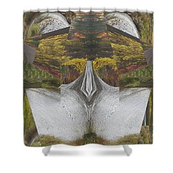 Abstract Art Shemale Treetrunk Nature Natural Eyes Breast   Graphic Artistic Conversion Of Photograp Shower Curtain