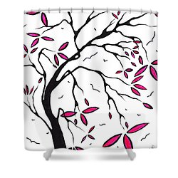 Abstract Artwork Modern Original Landscape Pink Blossom Tree Art Pink Foliage By Madart Shower Curtain by Megan Duncanson