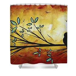 Abstract Bird Landscape Tree Blossoms Original Painting Family Of Three Shower Curtain by Megan Duncanson