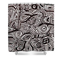 Shower Curtain featuring the painting Abstract Black And White Ink Line Drawing by Jean Haynes