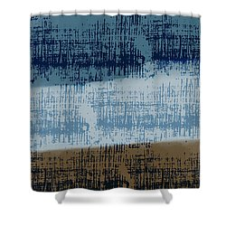 Abstract Blue And Brown Grunge Shower Curtain