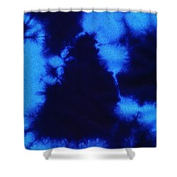 Abstract Blue Batik Pattern Shower Curtain by Kerstin Ivarsson