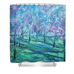 Abstract Cherry Trees Shower Curtain by Eric  Schiabor