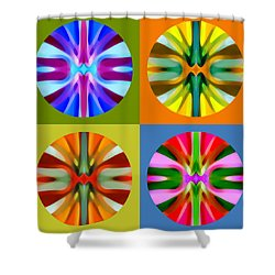 Abstract Circles And Squares 1 Shower Curtain by Amy Vangsgard